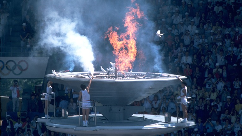 1988 Olympics flame being lit