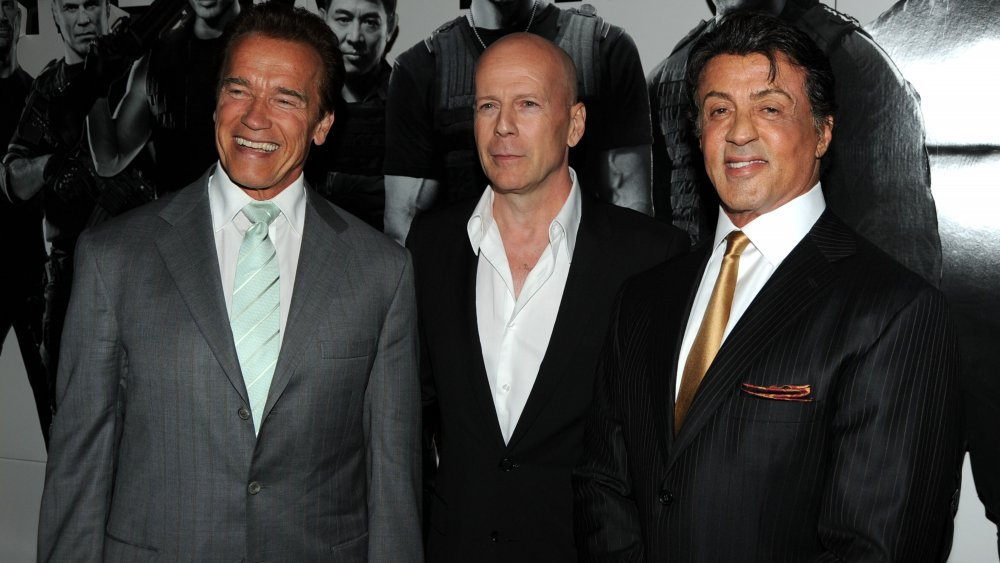 Arnold Schwarzenegger, Bruce Willis, and Sylvester Stallone at The Expendables premiere in 2010