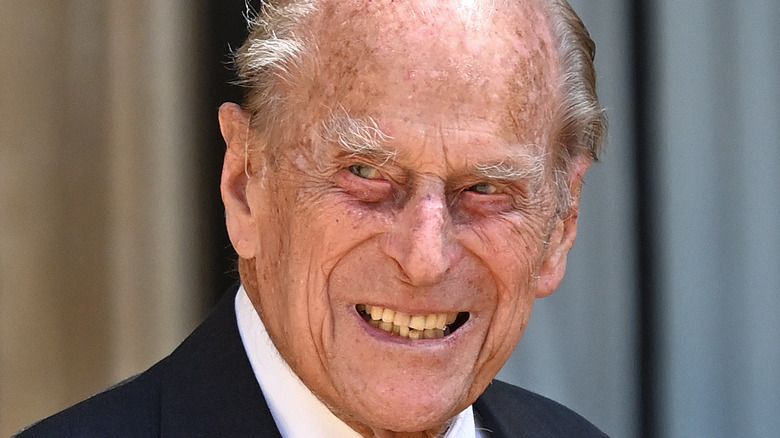 Prince Philip smiles during a public event