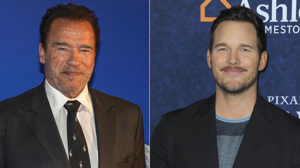 Chris Pratt and Arnold Schwarzenegger on the red carpet