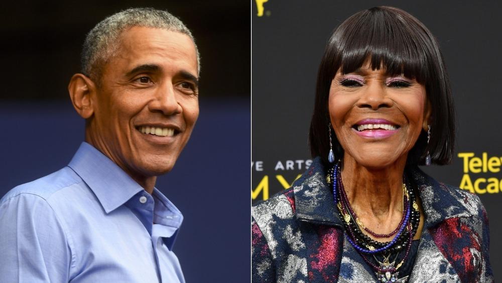 Barack Obama and Cicely Tyson split image