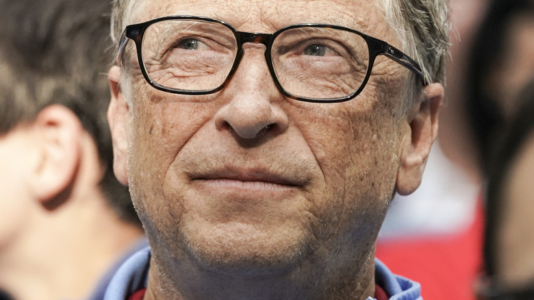Bill Gates looking up