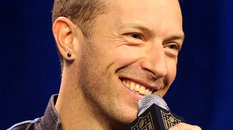 Chris Martin with microphone