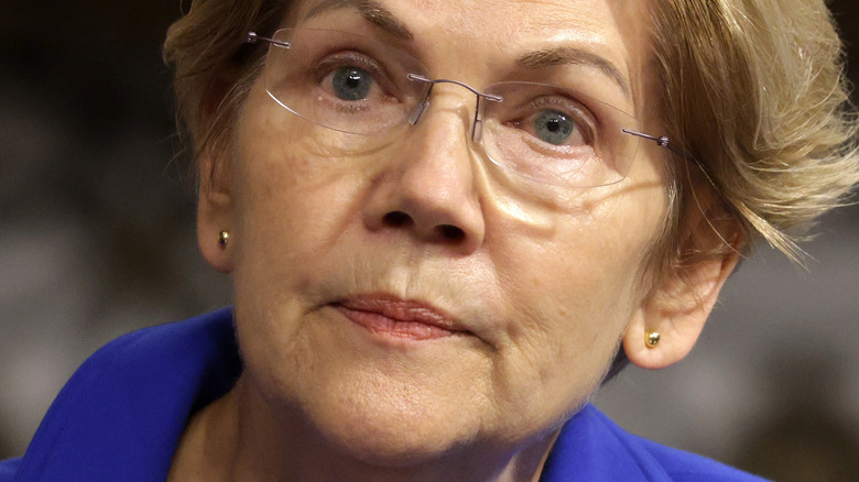 Elizabeth Warren frowning