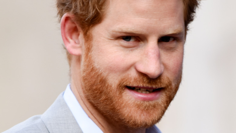 Prince Harry staring uncomfortably into the camera