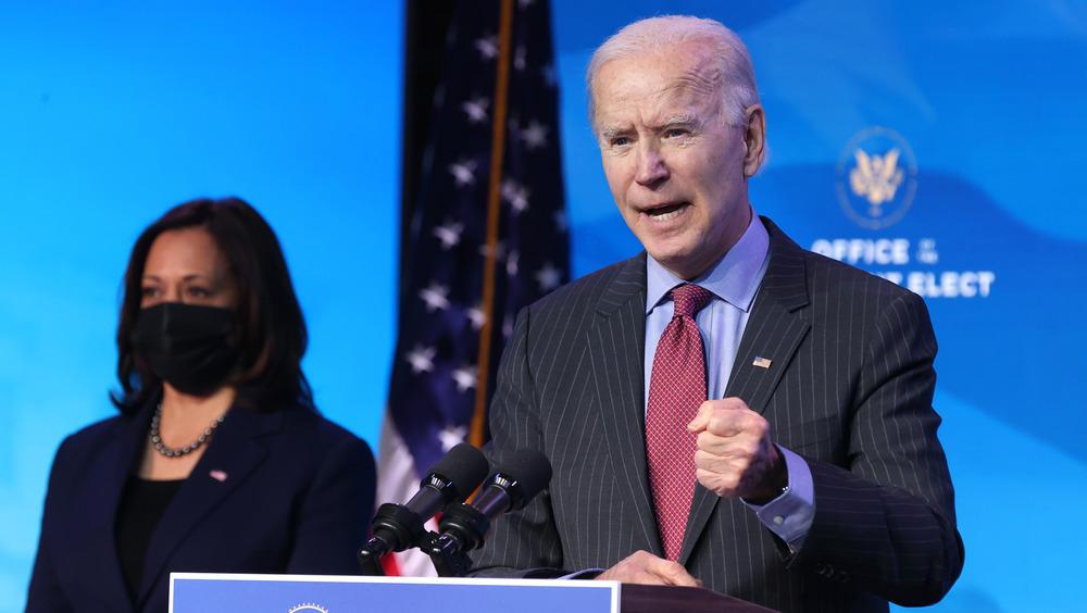 Joe Biden at the podium with Kamala Harris