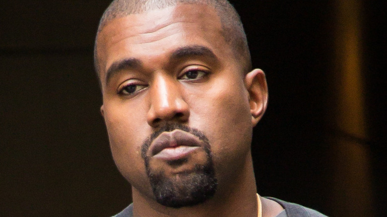 Kanye West looking serious