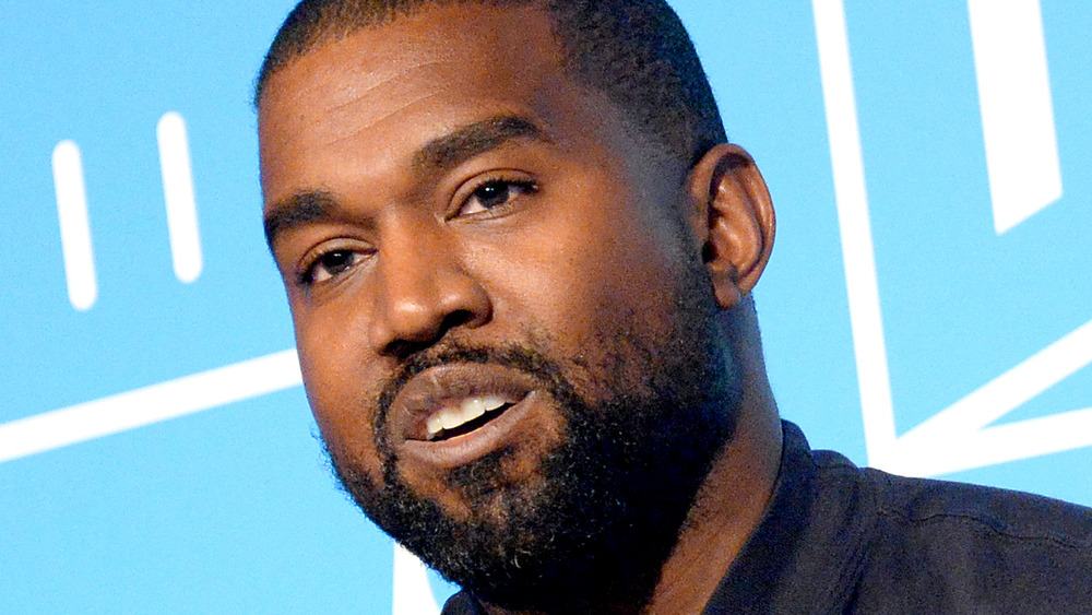 Kanye West speaking at an event