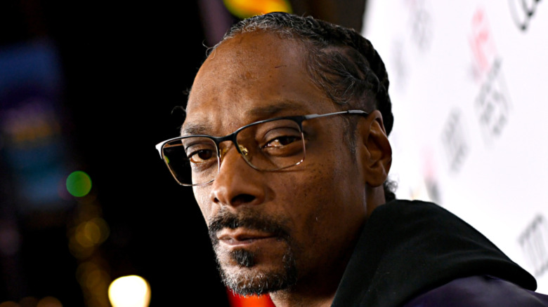 Snoop Dogg looking stoic