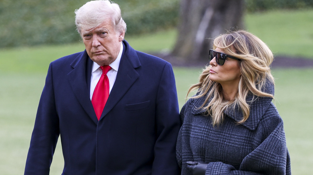 Donald and Melania Trump looking glum