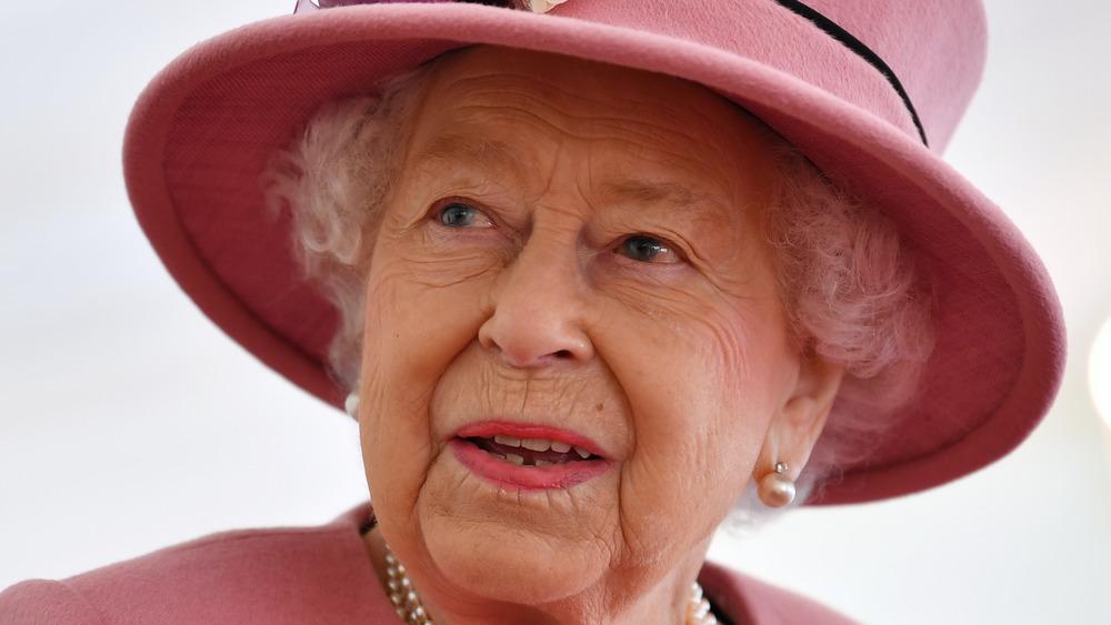 Queen Elizabeth looking up