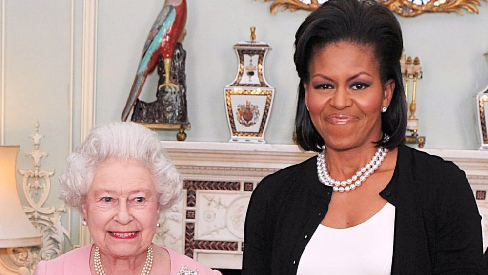 Barack Obama, Queen Elizabeth and Michelle Obama