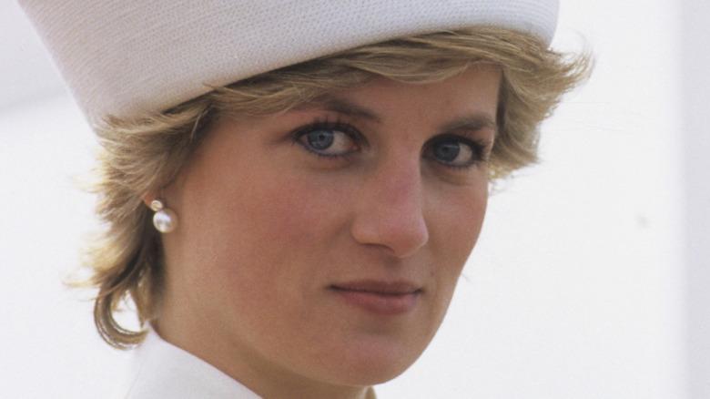 Princess Diana in a white hat