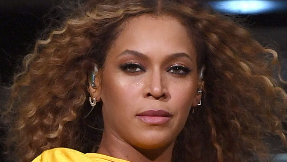 Beyonce gives a glaring look while performing at Coachella in 2018