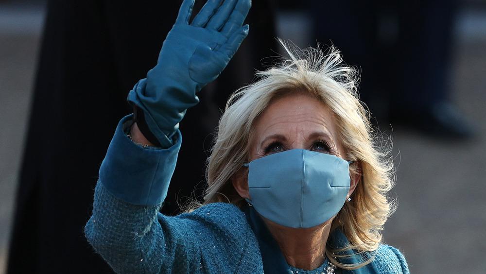 Jill Biden waving at inauguration