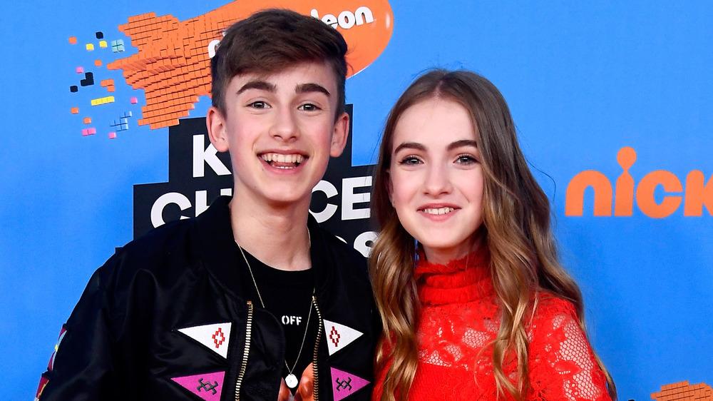 Johnny Orlando and Lauren Orlando smiling at the 2018 Kids' Choice Awards