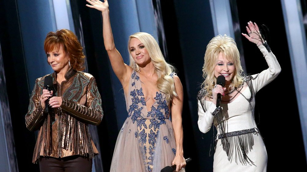 Reba McEntire, Carrie Underwood and Dolly Parton at the 2019 ACM Awards