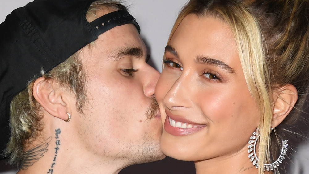 Justin Bieber kissing Hailey Bieber