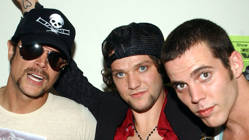 Johnny Knoxville, Bam Margera, and Steve-O backstage