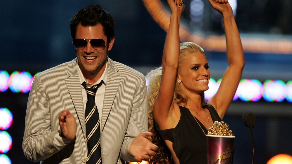Johnny Knoxville and Jessica Simpson at MTV Movie Awards