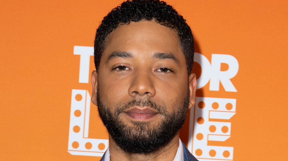 Jussie Smollett with a serious expression at Trevor Live