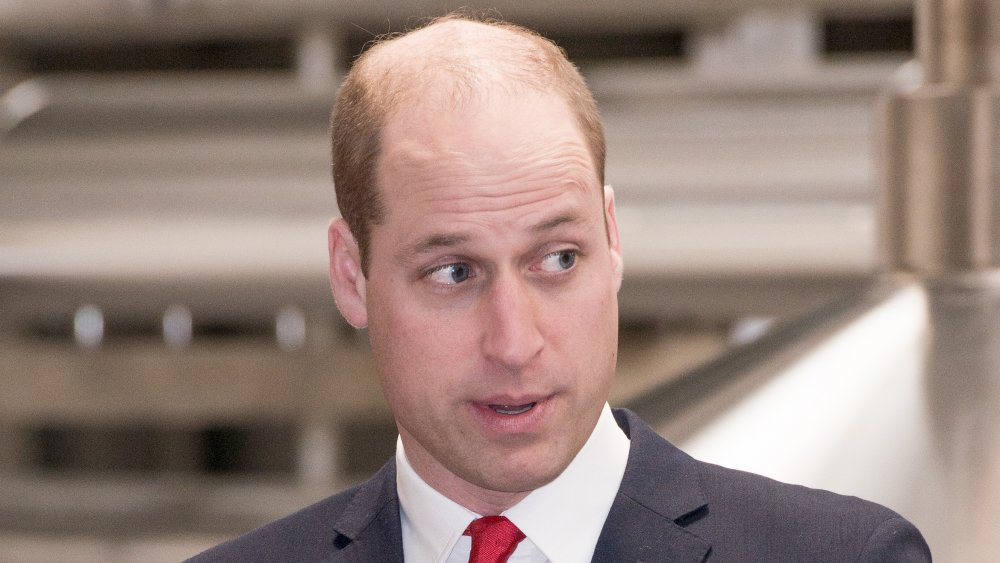 Prince William speaking while glancing off to the side