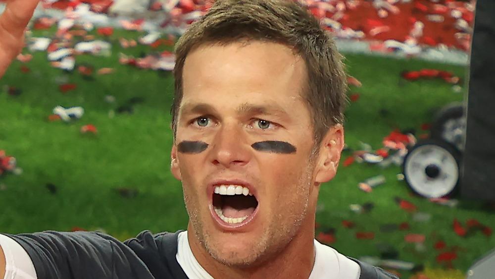 Tom Brady yelling at Super Bowl LV