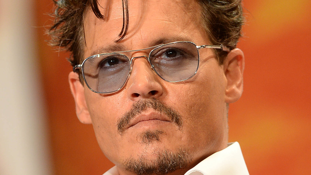 Johnny Depp looking serious