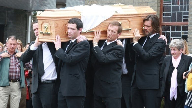 Jim Carrey at Cathriona White's funeral