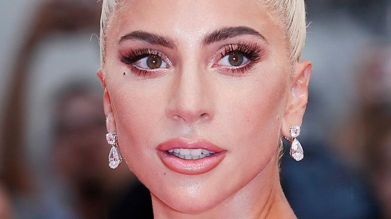 Lady Gaga staring off