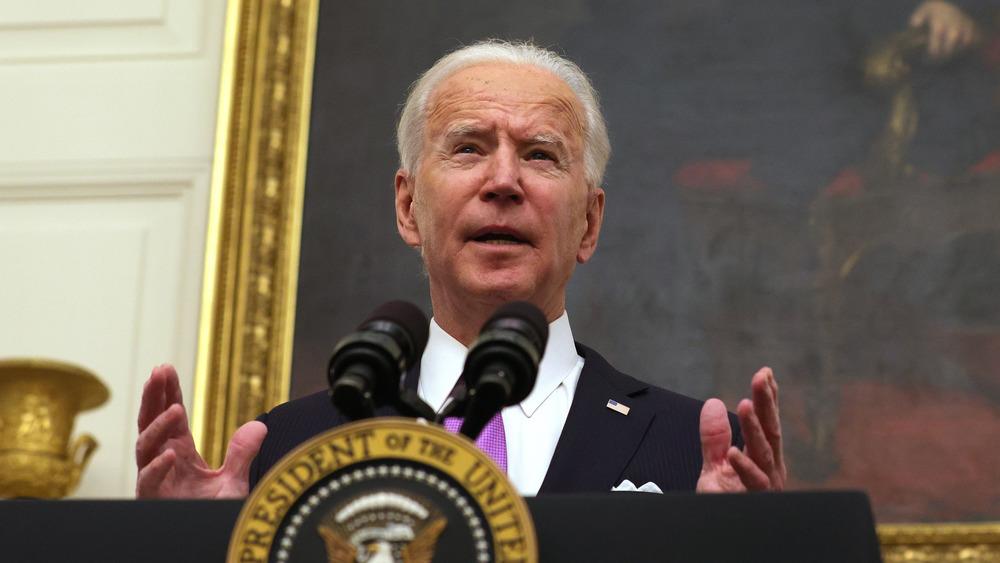 President Joe Biden speaks from the White House