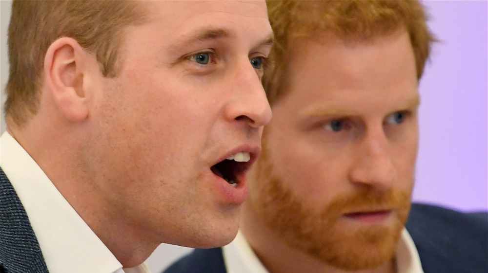 Prince William and Prince Harry watching