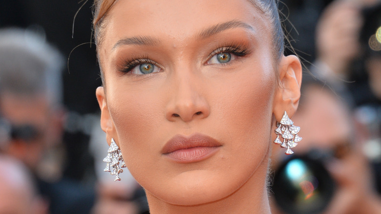 Bella Hadid with a serious expression