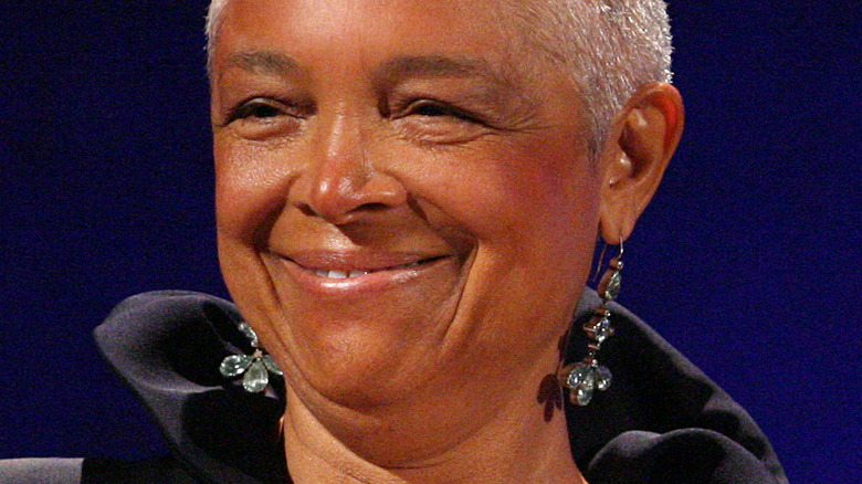 Camille Cosby smiling and looking to side