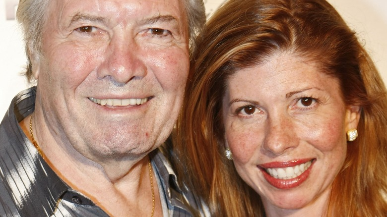 Chef Jacques Pepin and daughter Claudine posing on red carpet
