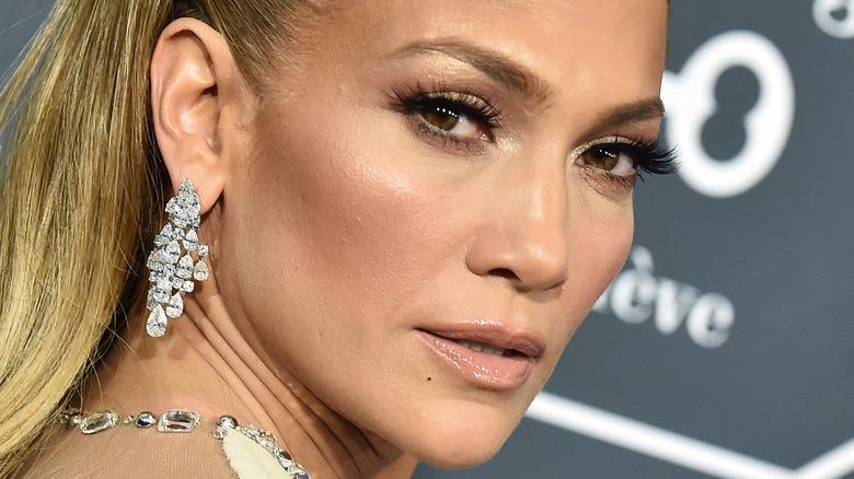 Jennifer Lopez looking over her shoulder