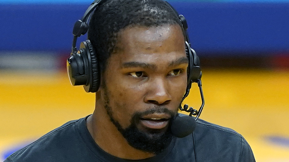 Kevin Durant with headset on