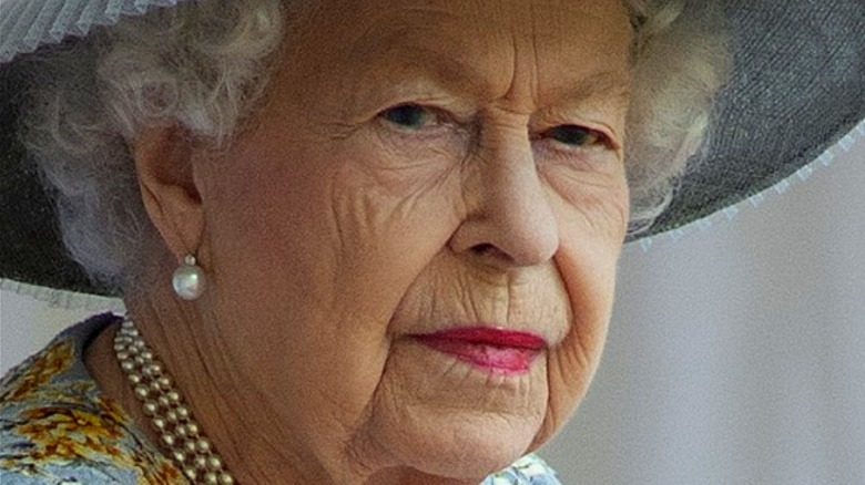 Queen Elizabeth II attending the 2021 Trooping the Colour