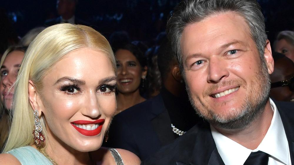 Gwen Stefani and Blake Shelton smiling