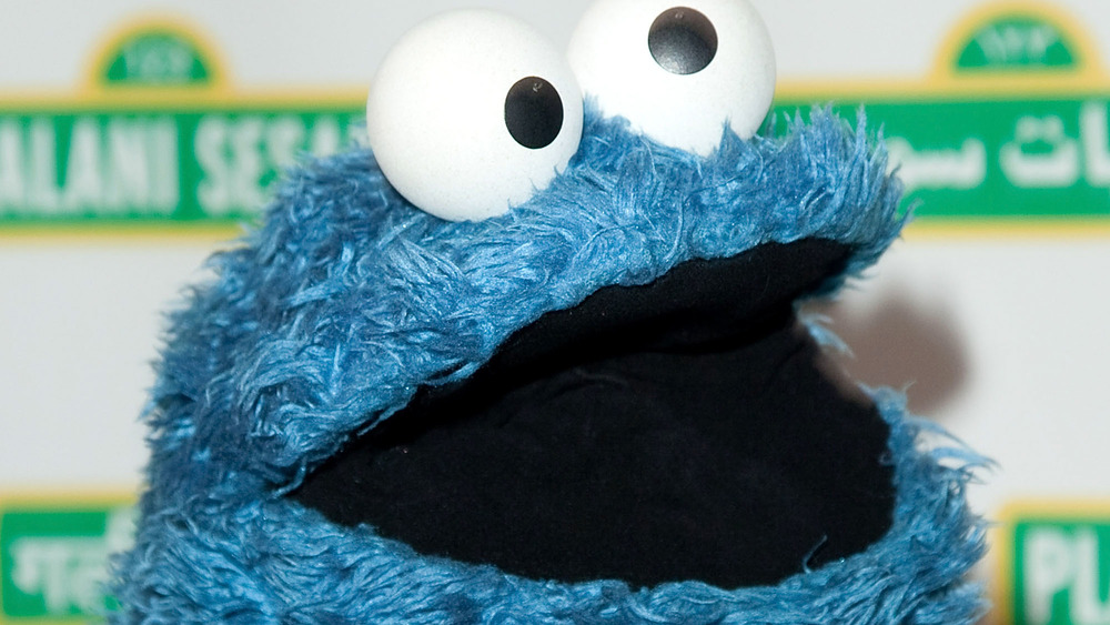 Cookie Monster with his mouth open