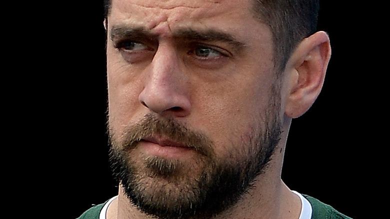 Aaron Rodgers looking upset