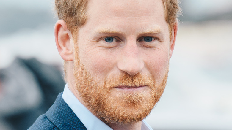 Prince Harry looking to left