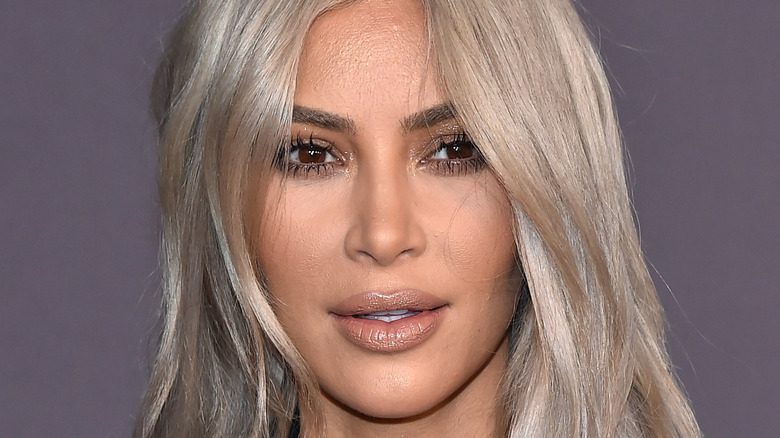 Kim Kardashian with white-blonde hair