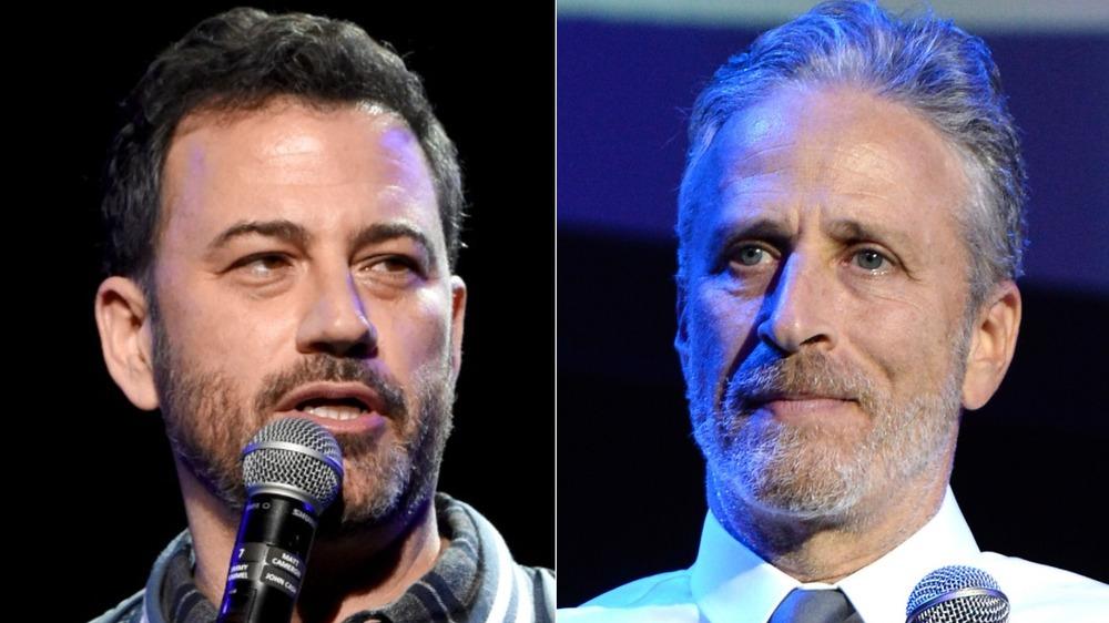 Jimmy Kimmel, Jon Stewart staring