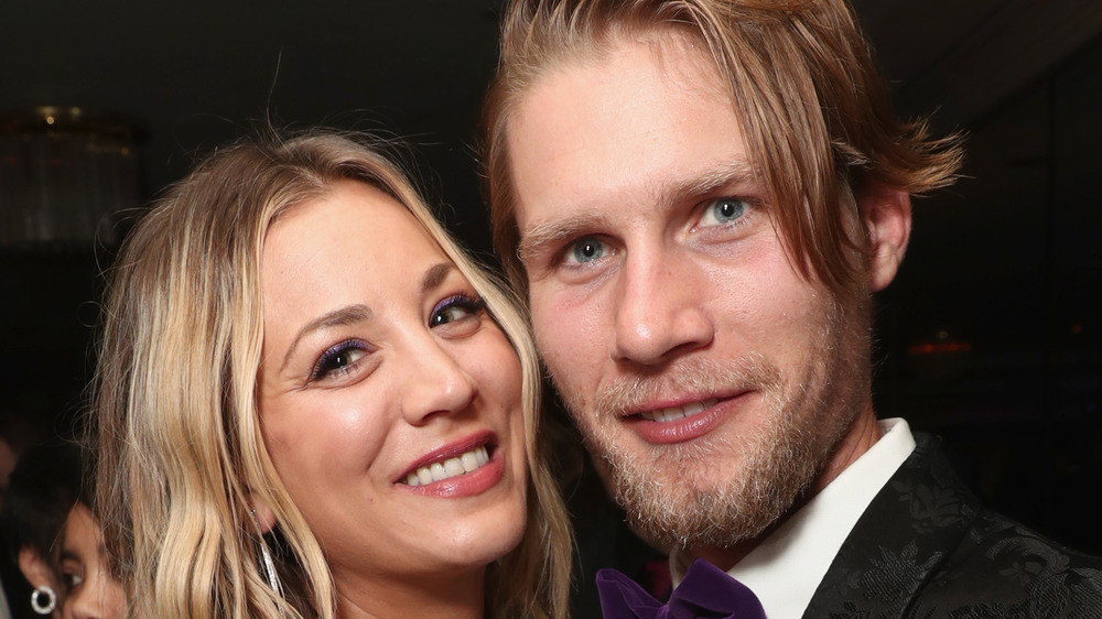 Kaley Cuoco and Karl Cook pose