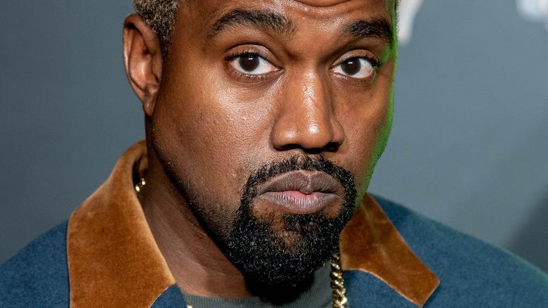 Kanye West looking down