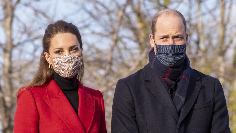 Kate Middleton and Prince William wearing masks