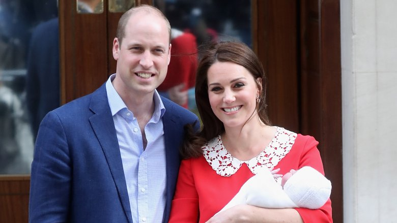 Prince William and Kate Middleton with their newborn son