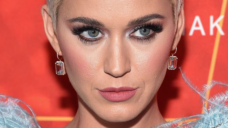 Katy Perry with a serious expression