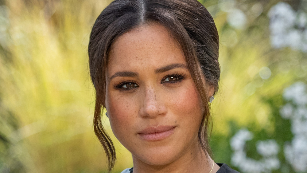 Meghan Markle sitting for her interview with Oprah Winfrey